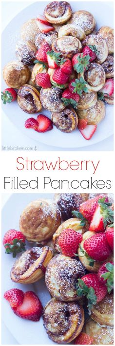 Mini pancakes (ebelskiver) filled with strawberry preserves make the BEST brunch food. Brunch Food, Brunch Recipes, Breakfast Recipes, Brunch Ideas, Strawberry Filling, Strawberry Preserves, Churros, Ebelskiver Recipe, Mini Pancakes