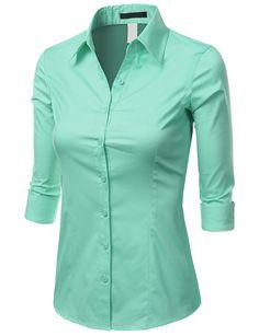 Doublju Women 3/4 Sleeve Basic Simple Spandex Shirt