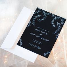 White Ink Floral Lace Wedding Invitation on Black Card - #whiteinkonblack Get yours from www.studiosand.com.au Lace Wedding Invitations, Wedding Stationery, Black Card, Stationery Design, White Ink, Floral Lace, Save The Date, Signage, Cards Against Humanity