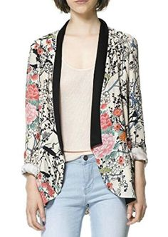 Pandapang Womens Stylish Long Sleeve Floral Print Coat Blazer Jackets Beige M