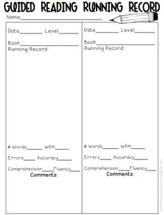"When I finished the article about running records my initial response was, ""what?!"" It sounded very intimidating! Being the visual person that I am, I knew that I would need to see an example of it to be able to fully understand this type of assessment. This form makes it look a lot more simple than the way it was described!"