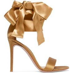 Gianvito Rossi Satin sandals featuring polyvore, women's fashion, shoes, sandals, heels, gianvito rossi, gold, stiletto heel sandals, tie shoes, bow tie shoes, high heeled footwear and wrap sandals