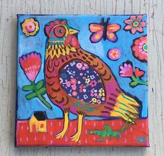 Small Folk Art Chicken Painting on Canvas