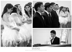 Damas and chambelanes at the quinceanera mass