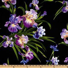 GORGEOUS FABRIC!! Michael Miller Primavera Iris Black - Discount Designer Fabric - Fabric.com
