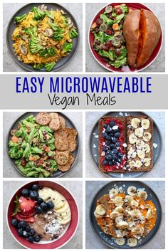 Easy Microwaveable Vegan Meal Ideas If youre traveling or need a quick meal on the go these simple vegan microwave meal ideas are perfect for you You can enjoy healthy ve. Healthy Microwave Meals, Quick Healthy Meals, Easy Meals, Healthy Protein, Simple Vegan Meals, Healthy Student Recipes, Easy Student Meals, Easy Microwave Recipes, Microwave Food