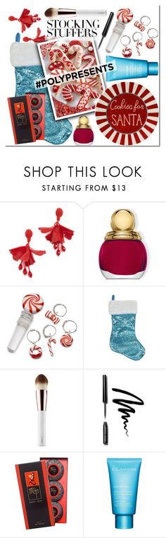 """#PolyPresents: Stocking Stuffers"" by mojosoigne ❤ liked on Polyvore featuring Oscar de la Renta, Christian Dior, Bobbi Brown Cosmetics, Clarins, contestentry and polyPresents"