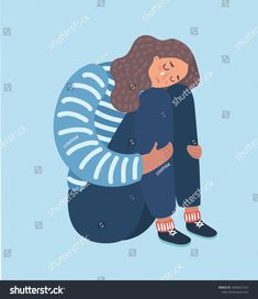Vector catoon illustration of sad girl sitting and unhappily hugging her knees and cry. Woman in depression. Sad Girl, Vector Graphics, Travel Posters, Hug, Depression, Royalty Free Stock Photos, Crying Girl, Disappointment, Sadness