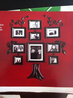 Family tree photo arrangement- maybe buy a metal tree from Hobby Lobby and snip it into pieces to do something like this