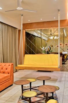 The apartment interior is like a poetic paradox that has been consciously created by the design team on board. Living Room Designs India, Living Room Decor, Living Spaces, Luxury Interior, Interior Architecture, Interior Designing, House Plans Mansion, Indoor Swing, Paradox