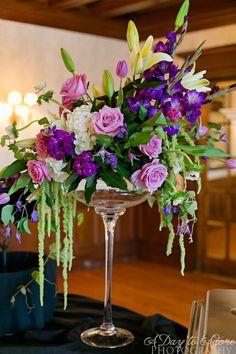 Asymmetrical, Garden Arrangement with Lavender Roses, White Hydrangea, White Lilies, Hanging Amaranths, Purple Stock, Purple Gladiolas & Grape Ivy