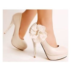Ivory Wedding Shoes Diamond Platform Lace Flowers High Heels ❤ liked on Polyvore