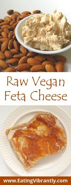 Instant Raw Vegan Feta Cheese recipe – A tangy, salty substitute for feta cheese… Instant Raw Vegan Feta Cheese recipe Vegan Sauces, Raw Vegan Recipes, Vegan Foods, Vegan Dishes, Vegetarian Recipes, Paleo, Vegan Raw, Healthy Recipes, Vegan Feta Cheese