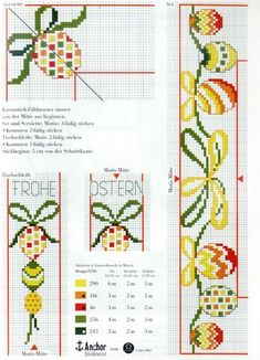 My embroidery: Rico 16 - easter Beaded Cross Stitch, Cross Stitch Borders, Cross Stitching, Cross Stitch Patterns, Bee Embroidery, Cross Stitch Embroidery, Minnie Baby, Easter Cross, Rico Design