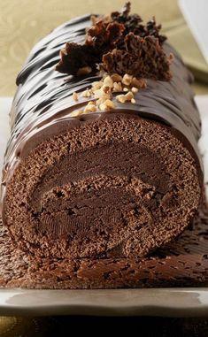 Bûche de Noël au chocolat croustillante