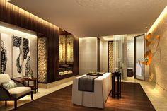 Spa treatment room.  Kempinski Ambience Hotel by Hirsch Bedner Associates near New Delhi, India.