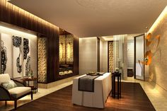 Recessed lighting and colors add luxury to spa treatment room