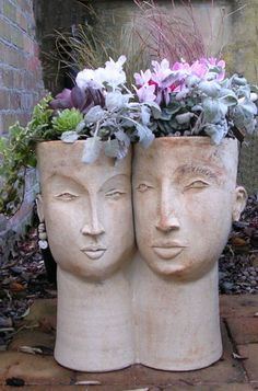 Double head planter by Cookie Scottorn Over the course of your ex five-decade profession, artist Face Planters, Stone Planters, Ceramic Planters, Garden Planters, Garden Art, Planter Pots, Clay Planter, Planter Ideas, Sculpture Head
