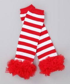 Red+and+white+striped++leg+warmers+with+chiffon+by+sydneysbowtique,+$8.99