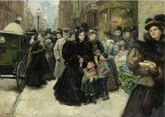 Alice Barber Stephens (American artist, 1858-1932) Christmas on 5th Avenue 1896