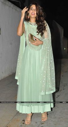 Actress Jacqueline Fernandez looked pretty in a soft green anarkali.
