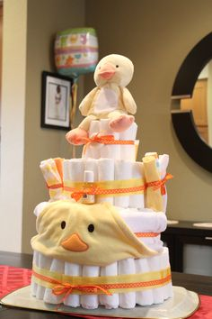 Made this 4-tier Diaper cake for a Baby Shower... great center-piece!