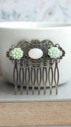 White opal flower hair comb #opal #hair #comb