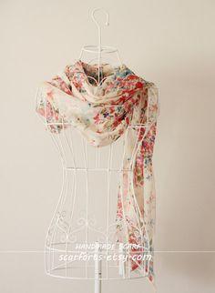 "Summer Scarf, Little Flower Scarf, Floral Silk Scarf, Infinity Scarf, Shabby Chic Scarf, Infinity Scarves, Scarf Warp. Gift for Her- 79""x25"". $34.50, via Etsy."