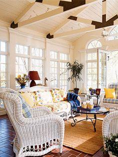 Beautiful Sunroom with White Wicker room home sun pretty garden decorate sunny wicker windows sunroom