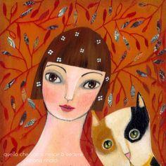 710 - Una ragazza e il suo gatto - quattro nuovi dipinti qui da me - by Tiziana Rinaldi
