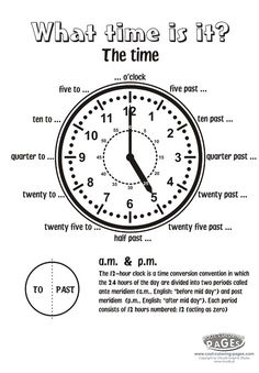 What time is it - clock no 15 - crossword - Telling Time Activities, Teaching Time, Teaching Math, English Language Learning, Teaching English, Spanish Language, French Language, Learning Spanish, English Time