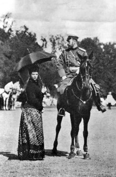 Tsar Nicholas II of Russia pictured on horseback with his mother, the Dowager Tsaritsa Maria Feodorovna