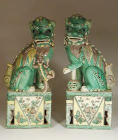 Pair Chinese Famille Verte Enameled Biscuit Porcelain Foo Lions➕More Pins Like This At FOSTERGINGER @ Pinterest ➖ ✖️
