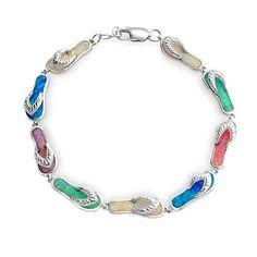 47a1aed36 Multi Color Flip Flop Sandal Opal Bracelet 925 Sterling Silver Multi  Coloured Flip Flops