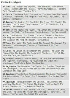 Zodiac archetypes - <Hey, which three archetypes from your sign thing would you pick for you?>