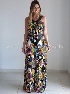 modelos de vestidos estampados longos