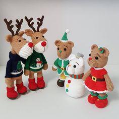 Amigurumi pattern christmas reindeer.smowman.bear