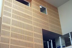 Acoustic paneling with Birch plywood. Acoustic paneling with Birch plywood. Timber Walls, Timber Panelling, Wood Cladding, Acoustic Wall, Acoustic Panels, Plywood Design, Office Fit Out, Condo Remodel, Birch Ply