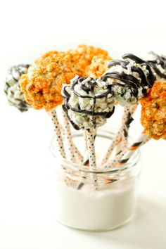 Halloween Popcorn Pops are just the treats kids want to eat on a stick. They'll love them!
