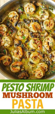 Pesto Shrimp Mushroom Pasta is a perfect Summer dinner recipe! Large shrimp and spiral pasta are smothered in a delicious basil pesto sauce! If you love basil - this is the recipe for you! Easy Fish Recipes, Seafood Recipes, Easy Meals, Cooking Recipes, Healthy Recipes, Shrimp Dinner Recipes, Italian Shrimp Recipes, Shrimp Dishes, Pasta Dishes