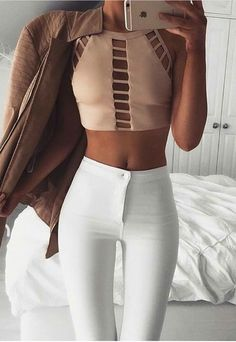 nude cropped top + high waisted white pants