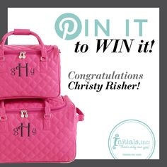 You Pinned it, and now as promised, you Win It! Congratulations to Christy Risher!! She was randomly chosen to win the most repinned item: the Berry Trolley & Carry On set! Christy will have her choice in personalizing these to make this prize a ONE of a kind.   Christy, please shoot us a quick Private Message on Facebook with your contact information so we can get the prize to you! :)