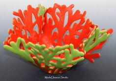 Red and Green Fused Glass Coral Vase by MadaGlasscarStudio on Etsy