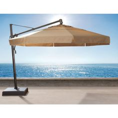 Make life a beach in your own backyard with the Umbrella Collection! This Umbrella offers a 13' free standing multi-function umbrella with a base. Bring on the sun! #Sunshine