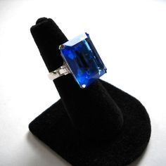 Vintage STATEMENT RING  Large Brilliant Blue by JoolsForYou