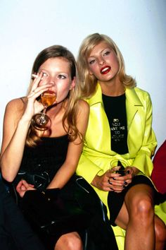 Kate Moss and Linda Evangelista. Take a look back into the BEST fashion parties of the 90s.