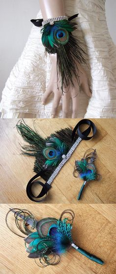 """A Beautiful SET of Hand Made Bridal Wedding Wrist Corsage Bracelet called """"Eli"""", in Teal Duck and Peacock Feathers, with a Three Row Crystal Silver Chain at Base, and Matching Mens Lapel Pin (Boutonniere). Peacock wedding ideas. Peacock Accessories for Wedding. Peacock Wedding Inspiration. Winter Bride. Winter Mother of the Bride ideas. Winter wedding bridesmaids. Ideas for Winter Weddings. #peacock #peacockfeathers #wristcorsage Winter Wedding Bridesmaids, Winter Weddings, Wedding Fascinators, Bridal Headpieces, Wrist Corsage Bracelet, Teal Duck, Flapper Headband, Winter Bride, Wedding Inspiration"""
