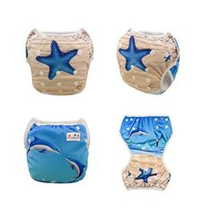 Amazon.com: Alva Baby 2pcs Pack One Size Reuseable Washable Swim Diapers DYK07-08: Baby