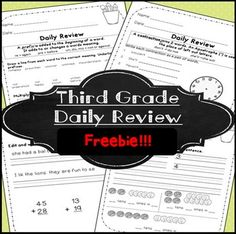 FREE 3rd Grade Morning Work! Third Grade ~ Language and Math: morning work (or daily review)This independent work is a great for settling an active class in the morning, after recess, or at the end of the day!This is a sample taken from my larger morning work pack.
