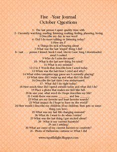 Cup of Delight: DIY Five Year Journal October Questions 5 Year Journal, Art Journal Prompts, Journal Entries, Journal Pages, Writing Prompts, 365 Questions, Journal Questions, This Or That Questions, Journaling